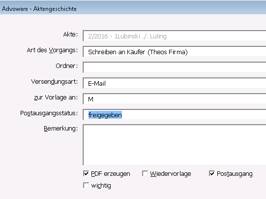 Advoware Symbolleiste Funktionen